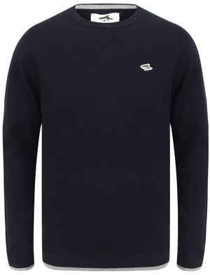 Hinault Textured Cotton Knit Jumper with Tipping In Sky Captain Navy – Le Shark