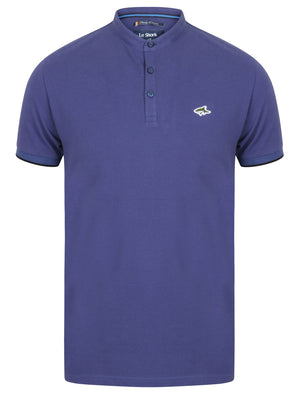 Hind Cotton Pique Grandad Polo Shirt in Deep Cobalt - Le Shark