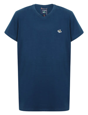 Boys Kensal V Neck Cotton Jersey T-Shirt in Teal Blue – Le Shark Kids