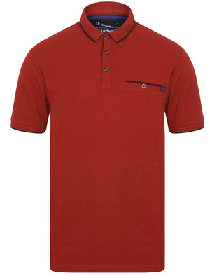Lanyard Cotton Pique Polo Shirt with Pocket In Red – Le Shark