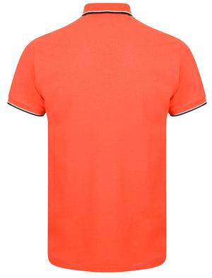 Lawless Cotton Pique Polo Shirt In Bright Salmon – Le Shark