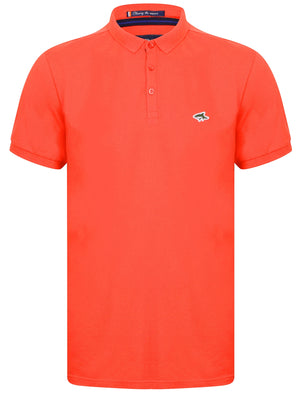 Lax Cotton Pique Polo Shirt In Bright Salmon - Le Shark
