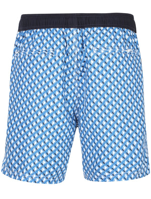 Marinos Geometric Print Swim Shorts In Turkish Sea – Le Shark