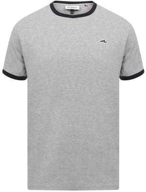 Maryon 2 Cotton Jersey Crew Neck Ringer T-Shirt In Light Grey Marl - Le Shark