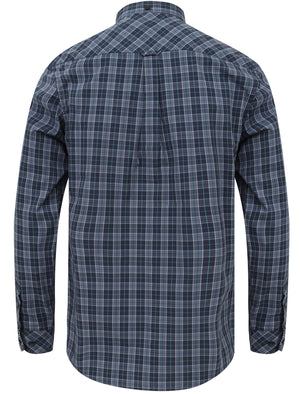 Mellor Checked Cotton Shirt with Chest Pocket In Vintage Indigo – Le Shark