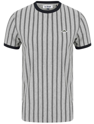 Phillips Pinstripe Cotton Pique T-Shirt In Light Grey Marl - Le Shark