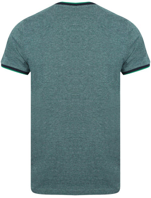 Rutland Jacquard Jersey Crew Neck T-Shirt In Jungle Green – Le Shark