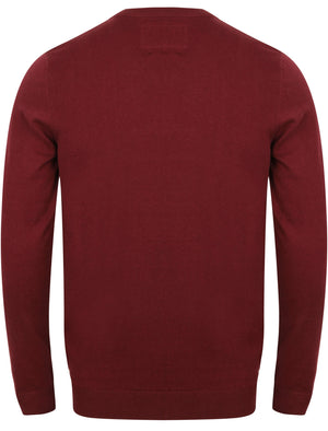 Skua Cotton Knit V Neck Jumper In Deep Red – Le Shark
