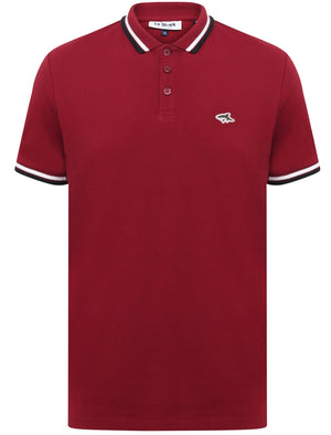 Sutton Cotton Pique Polo Shirt with Tipping In Beet Red – Le Shark