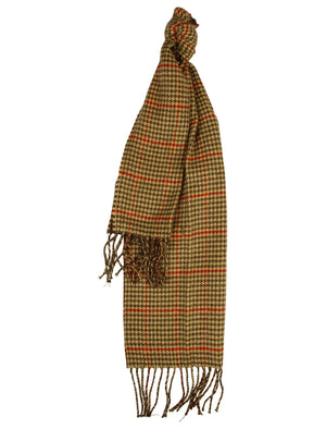 Levi Checked Knitted Scarf in Brown