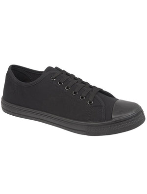 Womens Baltimore Low Top Lace Up Canvas Trainers In All Black
