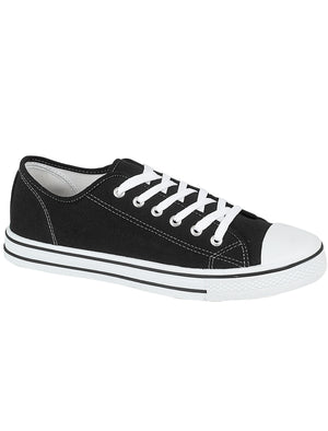 Womens Baltimore Low Top Lace Up Canvas Trainers In Black / White