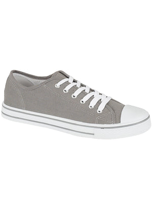 Womens Baltimore Low Top Lace Up Canvas Trainers In Grey