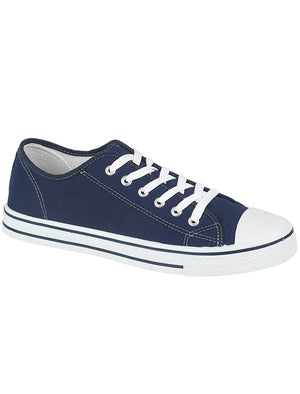 Womens Baltimore Low Top Lace Up Canvas Trainers In Navy