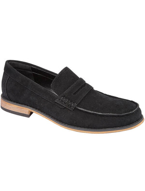 Madrid Suede Penny Loafers in Black