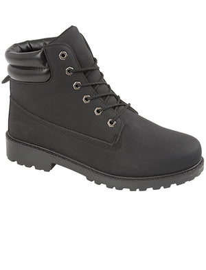 Mens Peak Lace Up Worker Boots In Black