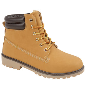 Mens Peak Lace Up Worker Boots In Sand