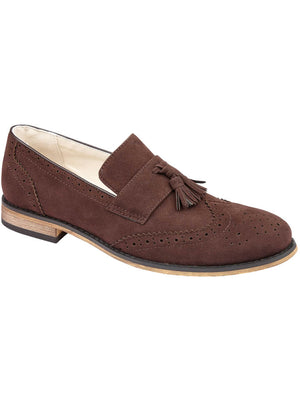 Seville Suede Brogue Loafers with Tassel Detail in Dark Brown