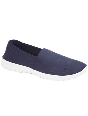 Womens Nadia Elasticated Slip On Plimsolls in Navy