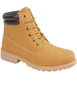 Womens Peak Lace Up Worker Boots In Sand