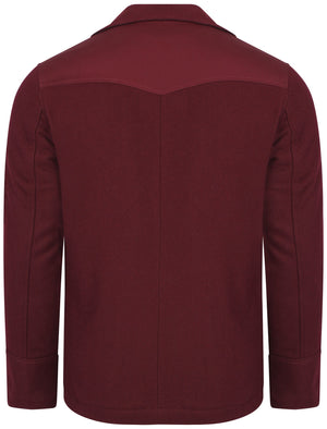Baughman Wool Rich Double Breasted Jacket in Oxblood - Dissident