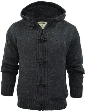 Dissident Hopkins Sherpa Lined Knitted Cardigan in charcoal