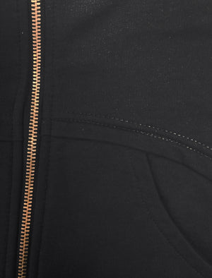 Mens Marc Curve Pocket Hoodie with Brass Zipper in Black
