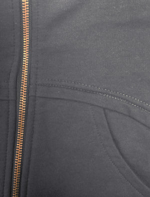 Mens Marc Curve Pocket Hoodie with Brass Zipper in Midnight Blue