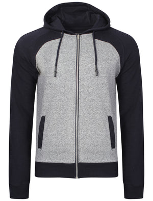 Mens Dave Hoodie with Contrast Qutory Ribbed Sleeves in Navy