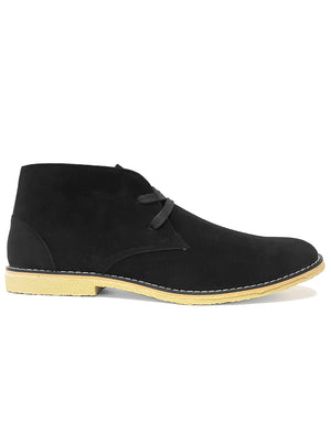 Mens Francisco Suedette Desert Boots in Black