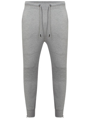 Mens Dominic Qutory Panel Joggers with Zip Cuffs in Grey Marl