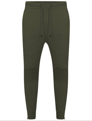 Mens Dominic Qutory Panel Joggers with Zip Cuffs in Khaki