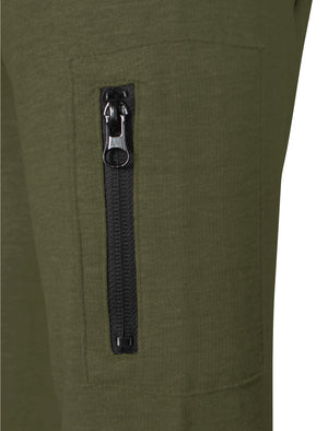 Mens Todd Qutory Panel Hoodie with Pocket Sleeve in Khaki