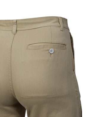 Roberto Cotton Twill 3/4 Length Shorts in Stone - Tokyo Laundry