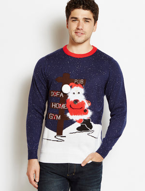 Merry Christmas navy Drunk Santa jumper