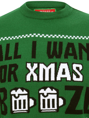 All I Want Booze Motif  Novelty Christmas Jumper in Green – Merry Christmas