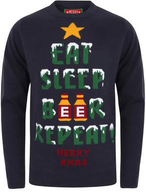 Eat Sleep Beer Repeat Motif Novelty Christmas Jumper in Eclipse Blue – Merry Christmas