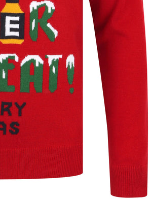 Eat Sleep Beer Repeat Motif Novelty Christmas Jumper in George Red – Merry Christmas
