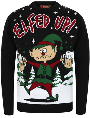 Elfed Up Novelty Christmas Jumper in Jet Black – Merry Christmas
