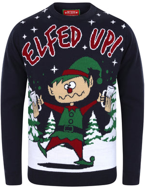 Elfed Up Novelty Christmas Jumper in Eclipse Blue – Merry Christmas
