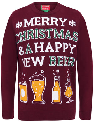 Happy New Beer Novelty Christmas Jumper in Oxblood – Merry Christmas