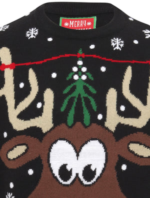 Pucker Up Novelty Christmas Jumper in Black – Merry Christmas