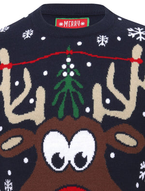 Pucker Up Novelty Christmas Jumper in Eclipse Blue – Merry Christmas