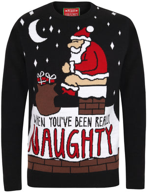 Really Naughty Motif Novelty Christmas Jumper in Jet Black – Merry Christmas