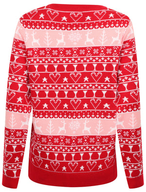Women's Reindeer Fairisle Novelty Christmas Jumper In Red / Candy Pink / White