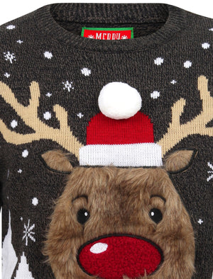 Rudolph Jumper Novelty Christmas Jumper with Fur Applique in Castlerock Twist – Merry Christmas