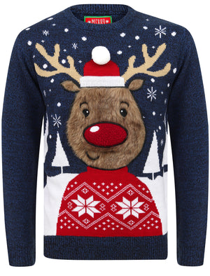 Rudolph Jumper Novelty Christmas Jumper with Fur Applique in Sapphire Twist – Merry Christmas