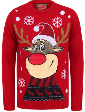 Rudolph the Reindeer Motif LED Light Up Novelty Christmas Jumper in George Red – Merry Christmas