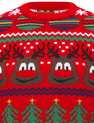 Rudolph Wallpaper Print LED Light Up Novelty Christmas Jumper in George Red – Merry Christmas