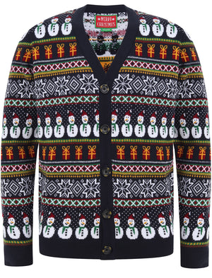 Snowman Cardi Wallpaper Print Novelty Christmas Cardigan in Ink– Merry Christmas